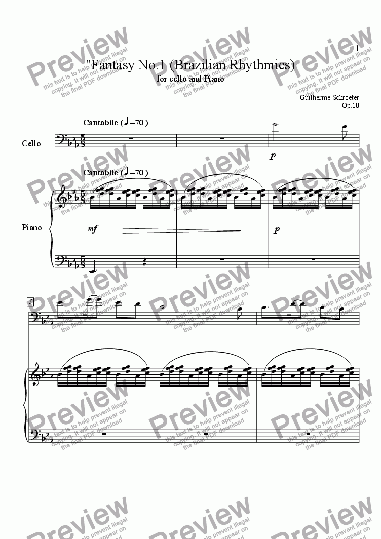 page one of Op.010 - Fantasy for Cello and Piano (Eb Major)
