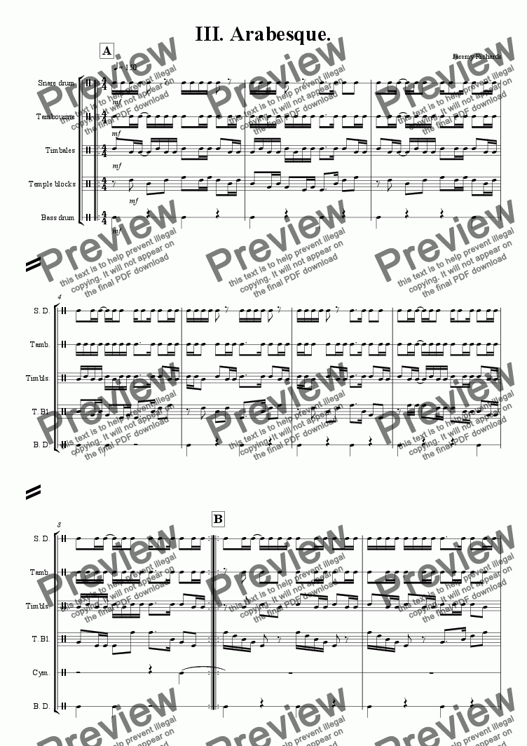page one of Concerto Revised October 2009 - 3. Arabesque