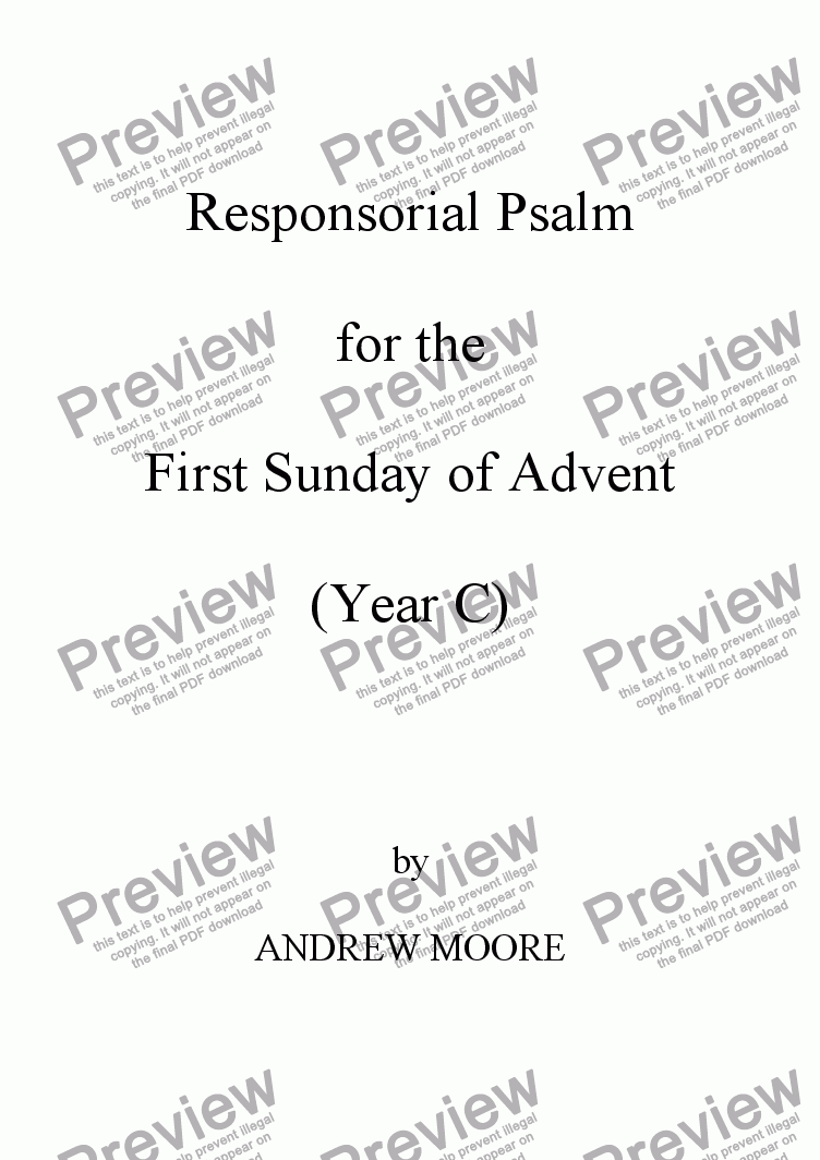 page one of First Sunday of Advent (Year C)