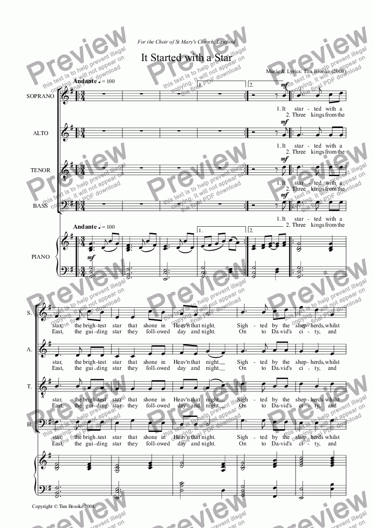 page one of It Started with a Star - carol for SATB & piano (or organ)