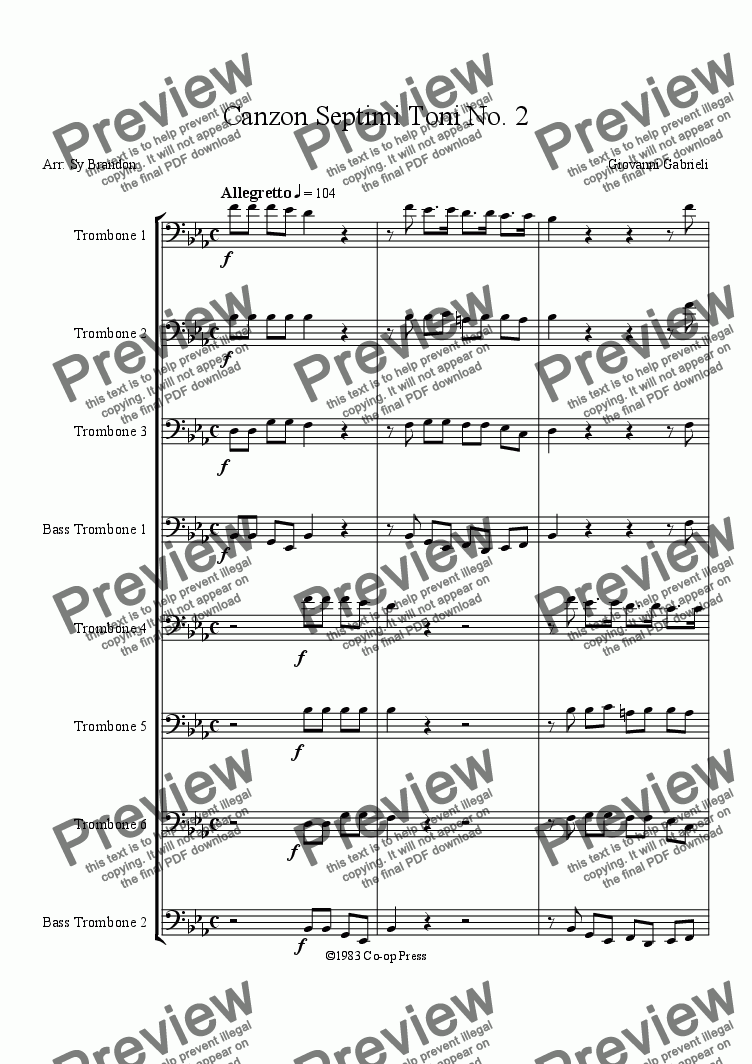 page one of Canzon Septimi Toni No. 2 (6 ten. troms.,2 bs. troms.)