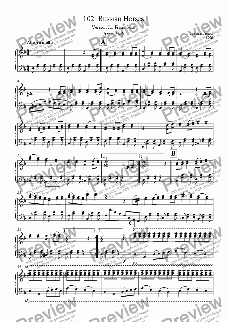 page one of Piano Book 102 (Russian Horses)