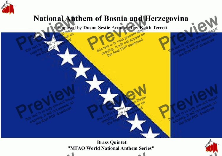 page one of Bosnian & Herzegovinian National Anthem for Brass Quintet MFAO World National Anthem Series