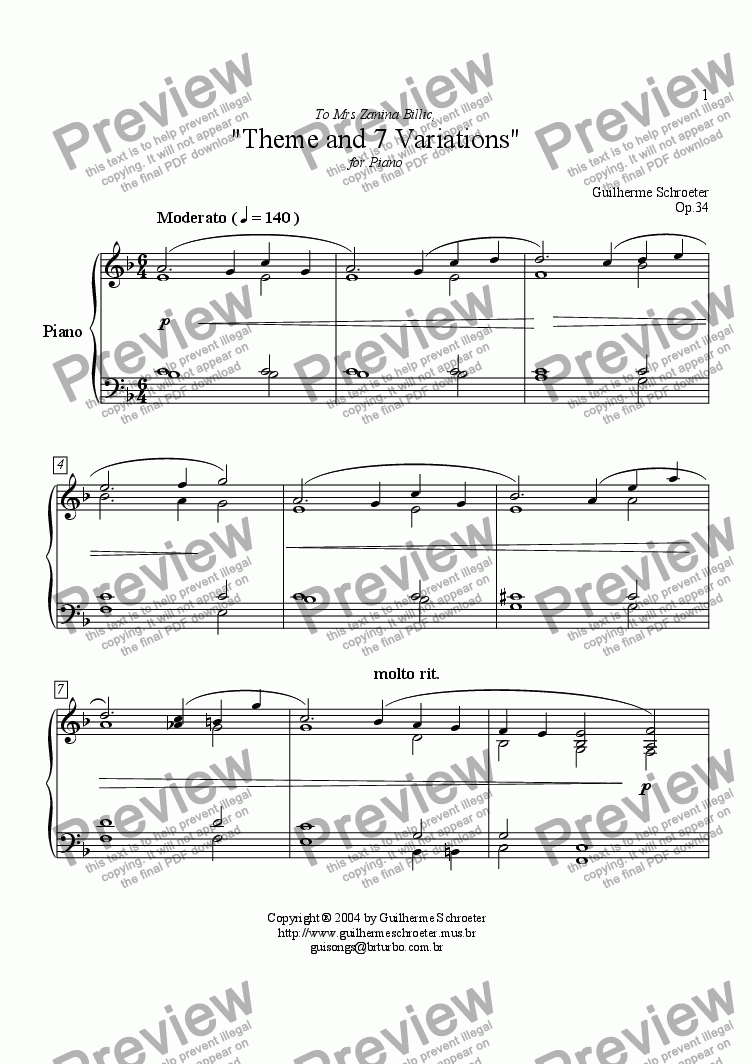 page one of Op.034 - Theme and 7 Variations (F Major)ASALTTEXT