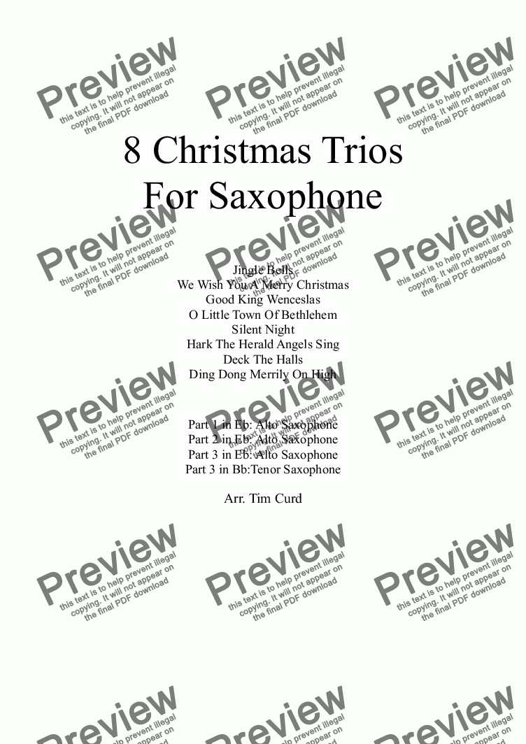 page one of 8 Christmas Trios, For Saxophone