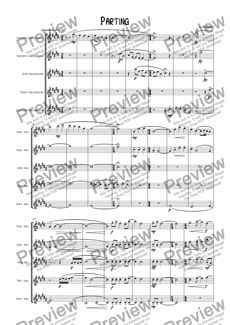 page one of Parting (for saxophone quintet)