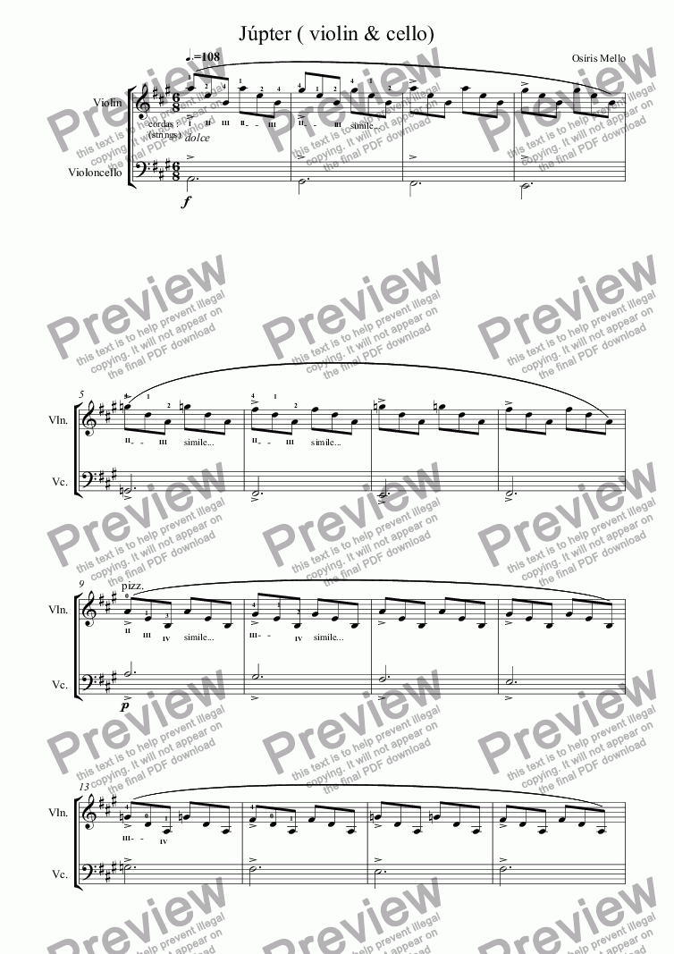 page one of Júpter ( violin & cello)