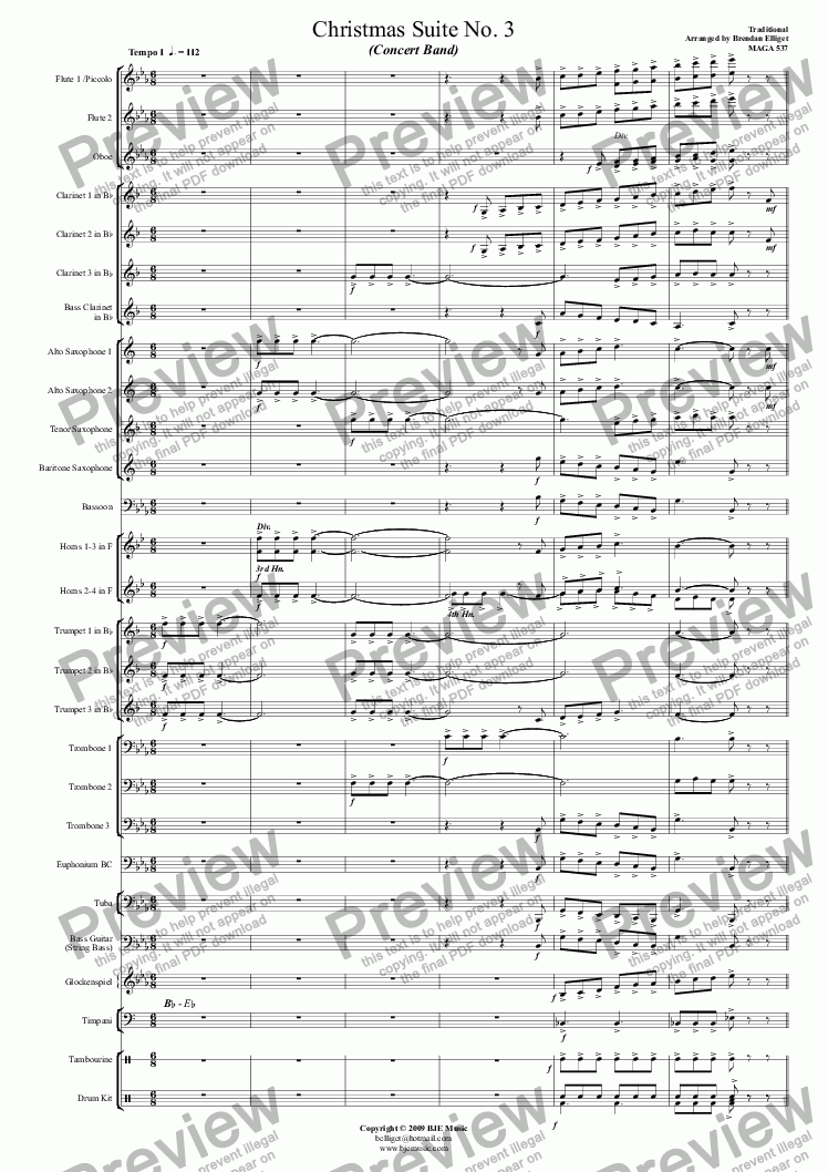 page one of Christmas Suite No.3 for Concert Band