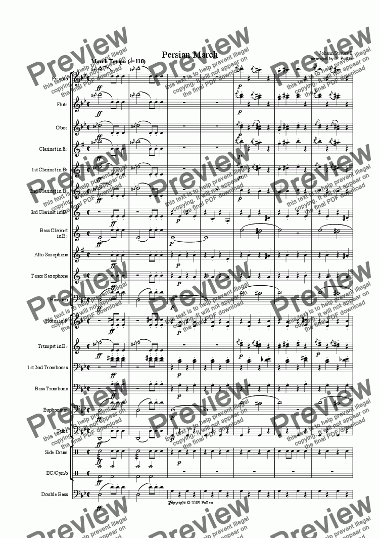 page one of Persian March Op. 289 for Concert Wind Band