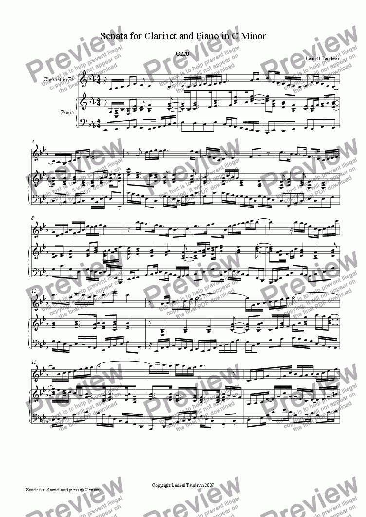 page one of Clarinet Sonata # 1