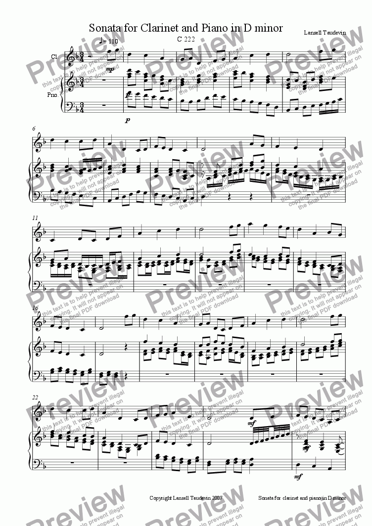 page one of Clarinet Sonata # 3