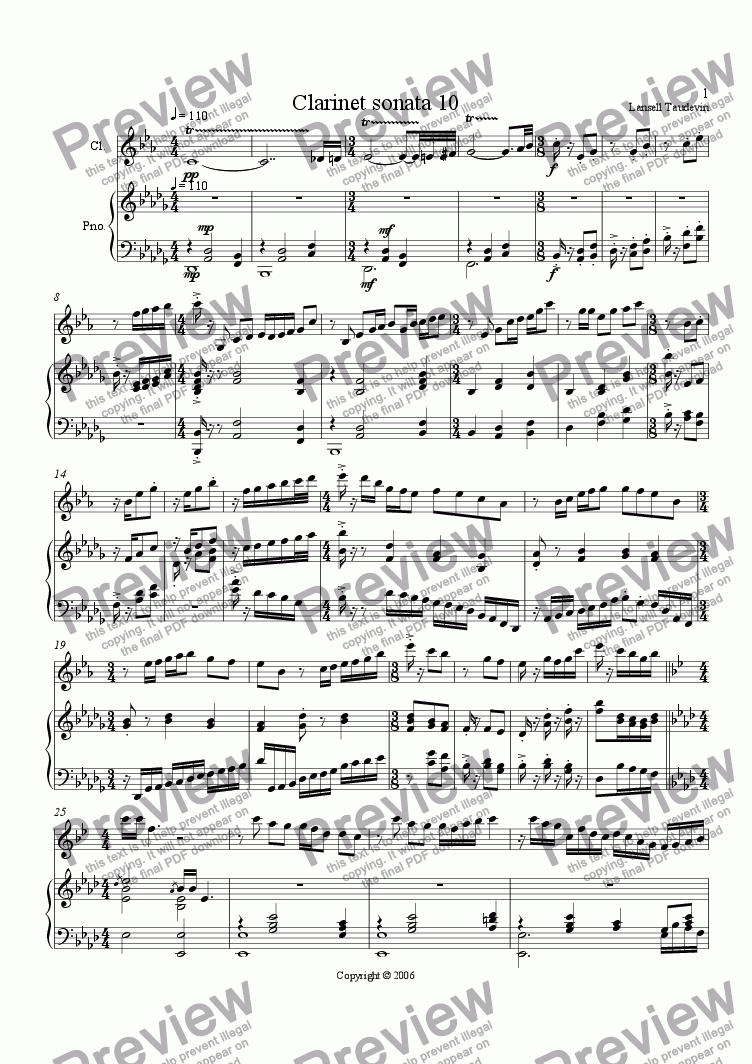 page one of Clarinet Sonata # 10