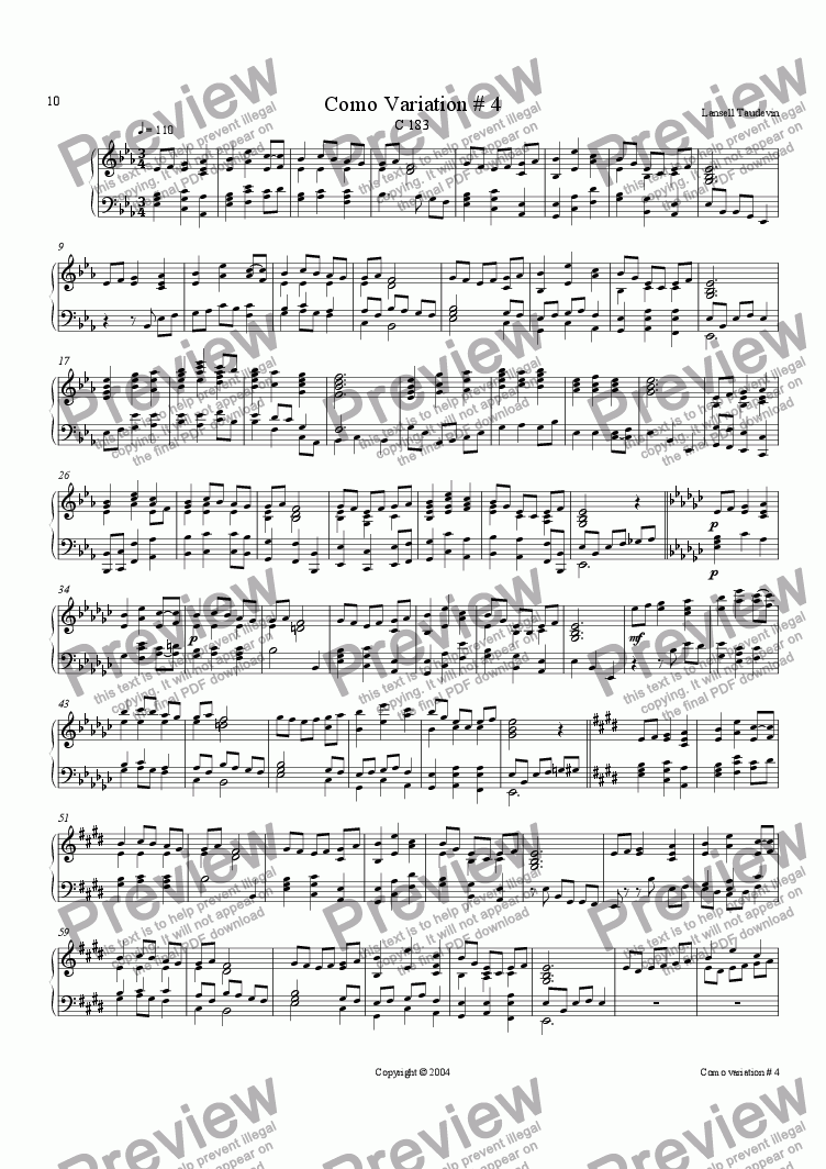 page one of Como variation # 4 for piano