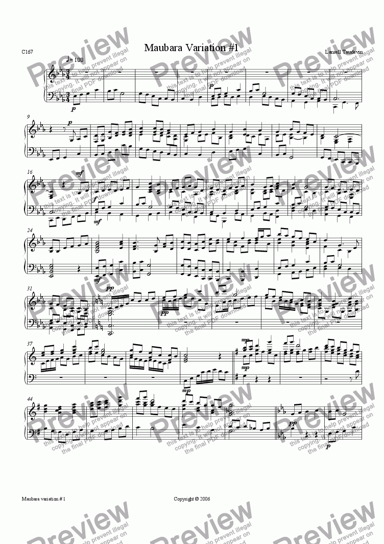page one of Maubara suite # 1 for piano