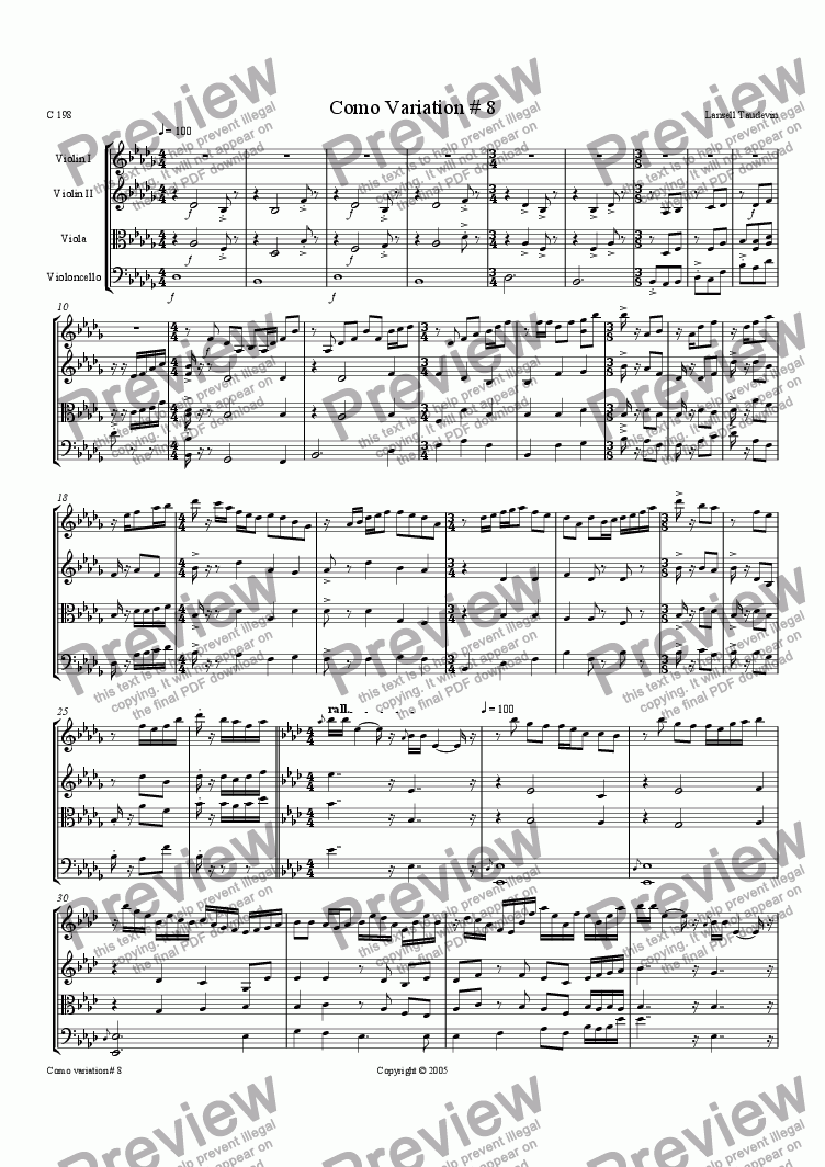 page one of Como suite for string quartette # 08