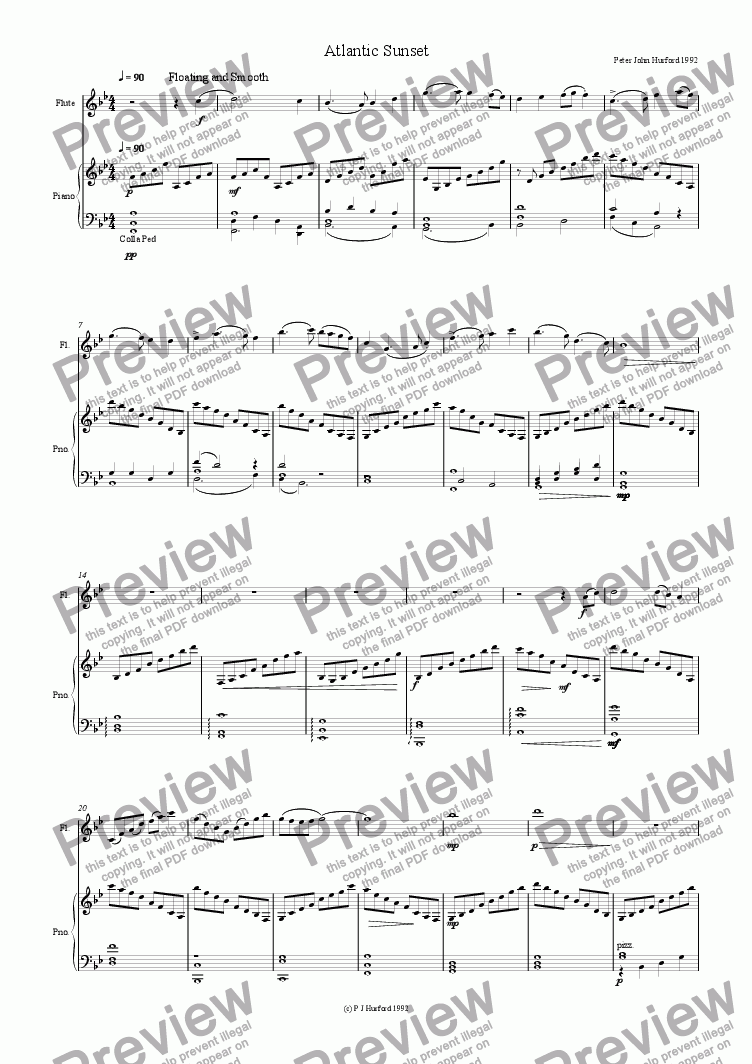 page one of Cornish Suite Atlantic Sunset Flute,Piano