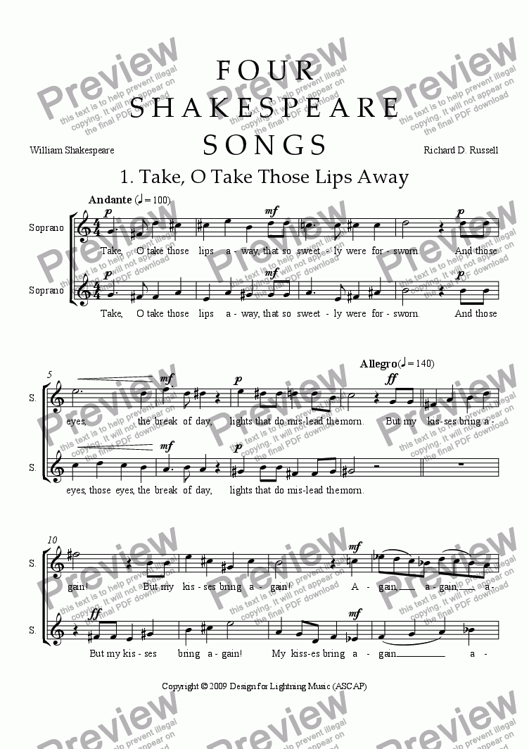 page one of Four Shakespeare Songs in Madrigal Style