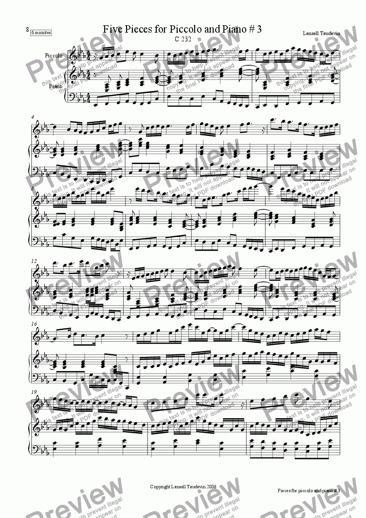 page one of Five Pieces for Piccolo and Piano # 3