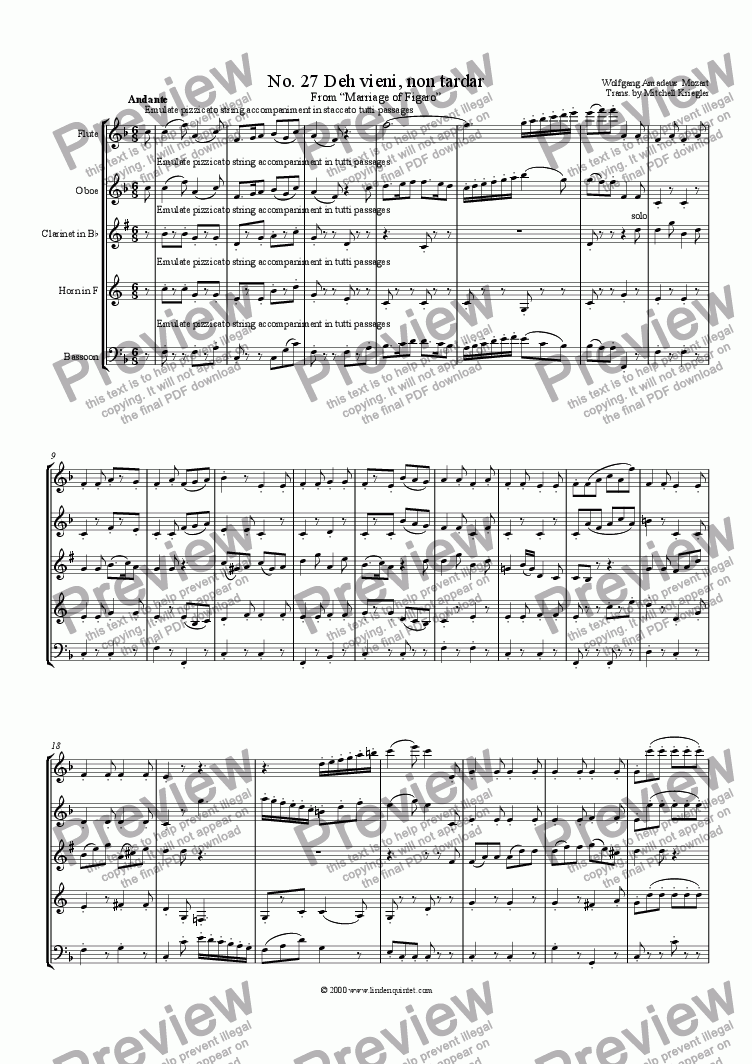 page one of Mozart - Marriage of Figaro No. 27 Deh vieni, non tardar