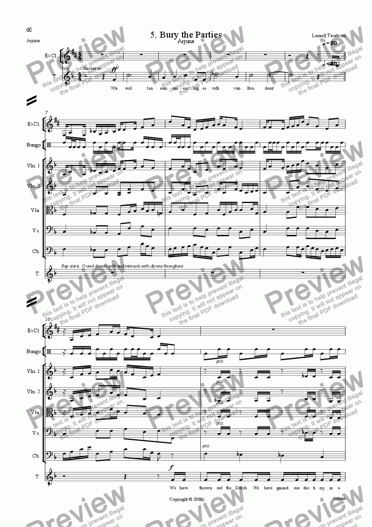 page one of Arjuna (Orchestrated) 05 Bury the Parties