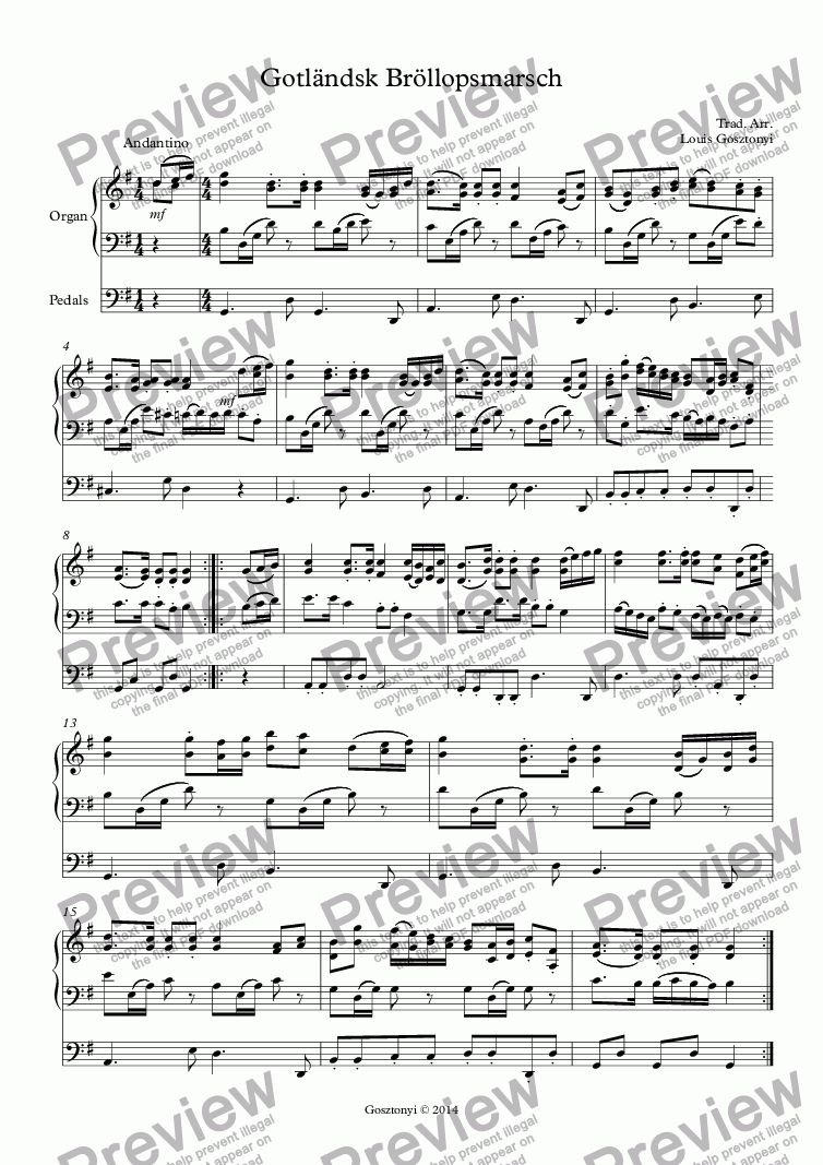 page one of Wedding March From Gotland (Organ Solo)