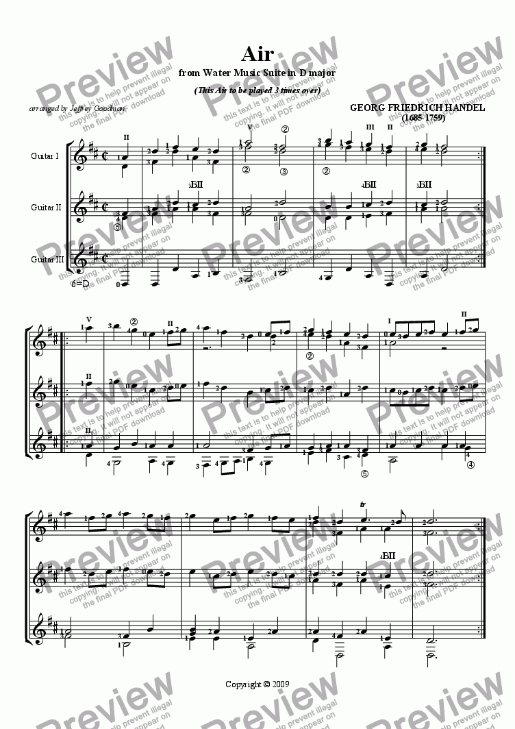 page one of Air from the Water Music Suite in D by Handel for three guitars
