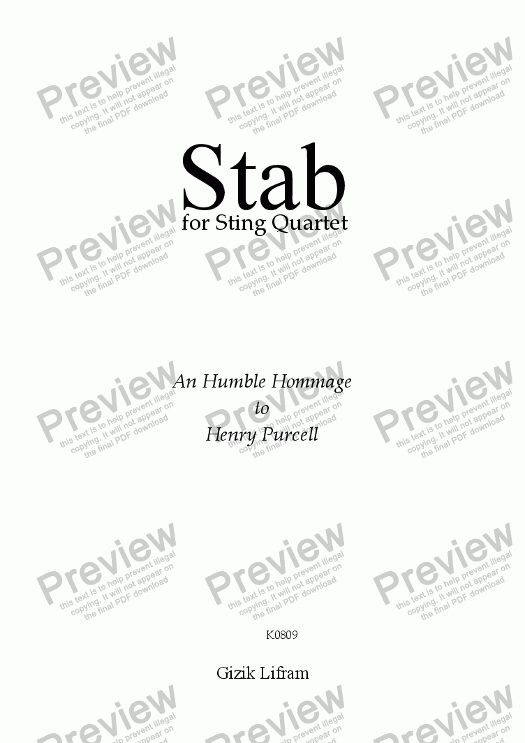 page one of Stab - An Hommage to Purcell