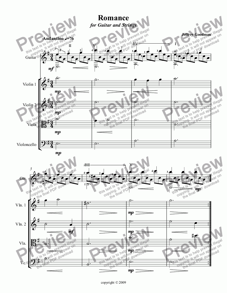 page one of Romance for Guitar and Strings