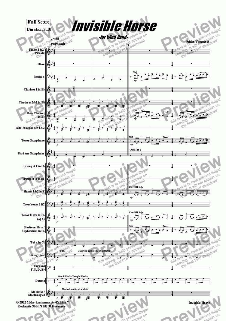 page one of Invisible Horse (wind band)ASALTTEXT