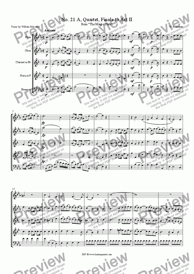 page one of Mozart - Magic Flute No. 21 A Finale to Act II