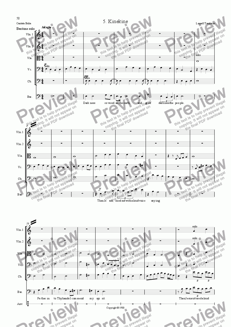 page one of Cantata Buka (Orchestrated) 05 Kinekine