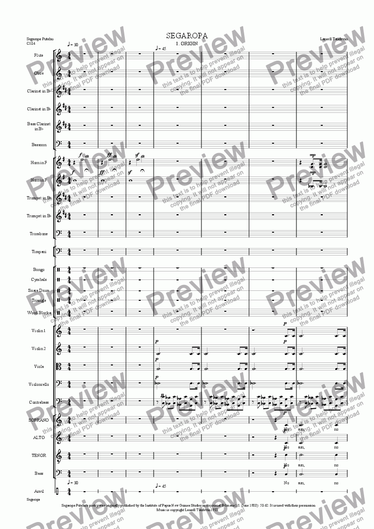 page one of Segaropa (Orchestrated) 01 Origin