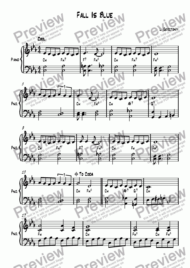 page one of Fall Is Blue (Piano Solo)