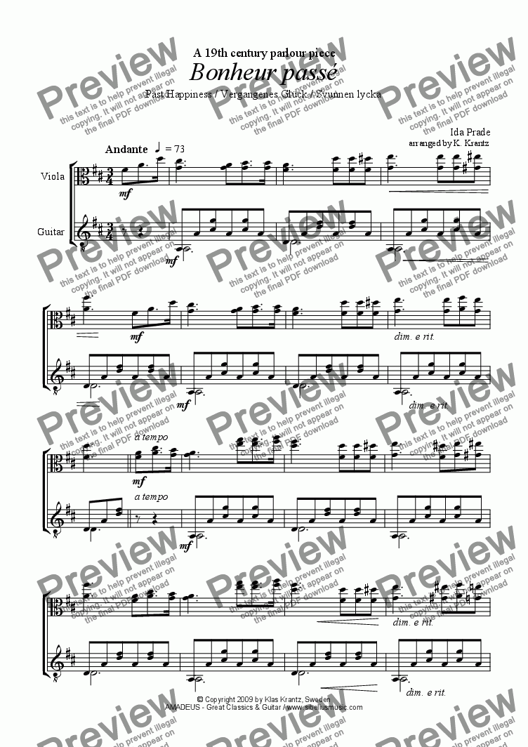 page one of Bonheur passé / Svunnen lycka for viola and guitar
