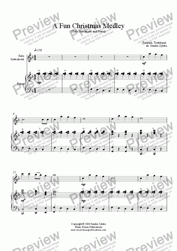 page one of A Fun Christmas Medley (Solo Instrument & Piano)