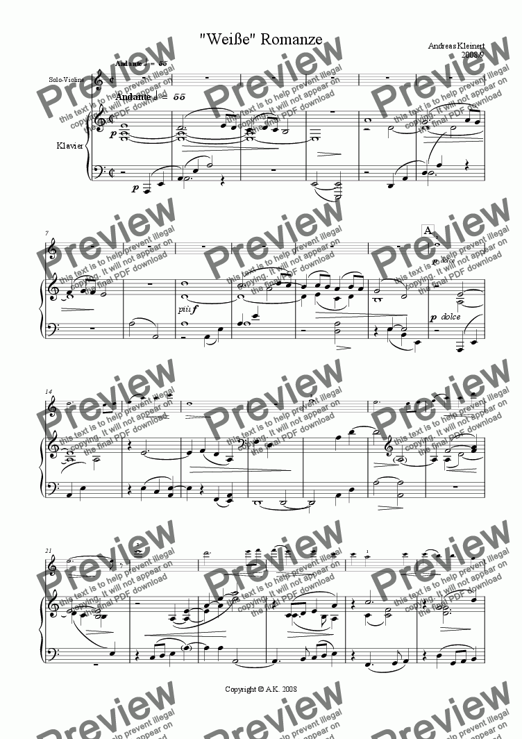 page one of Romance for violin and string orchestra - piano score version