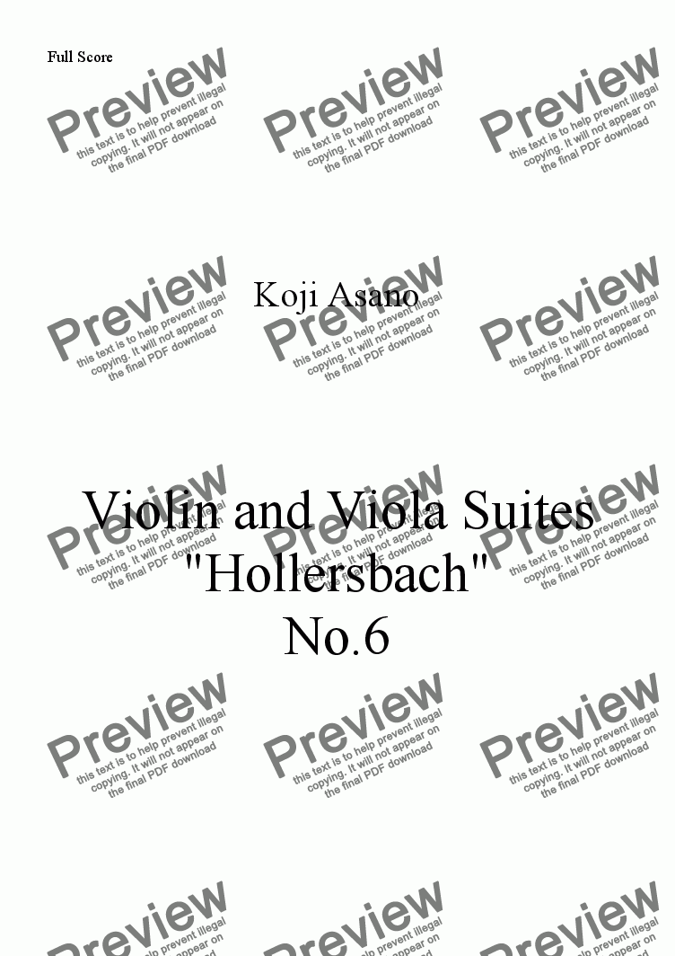 page one of Violin and Viola Suites -Hollersbach- No.6