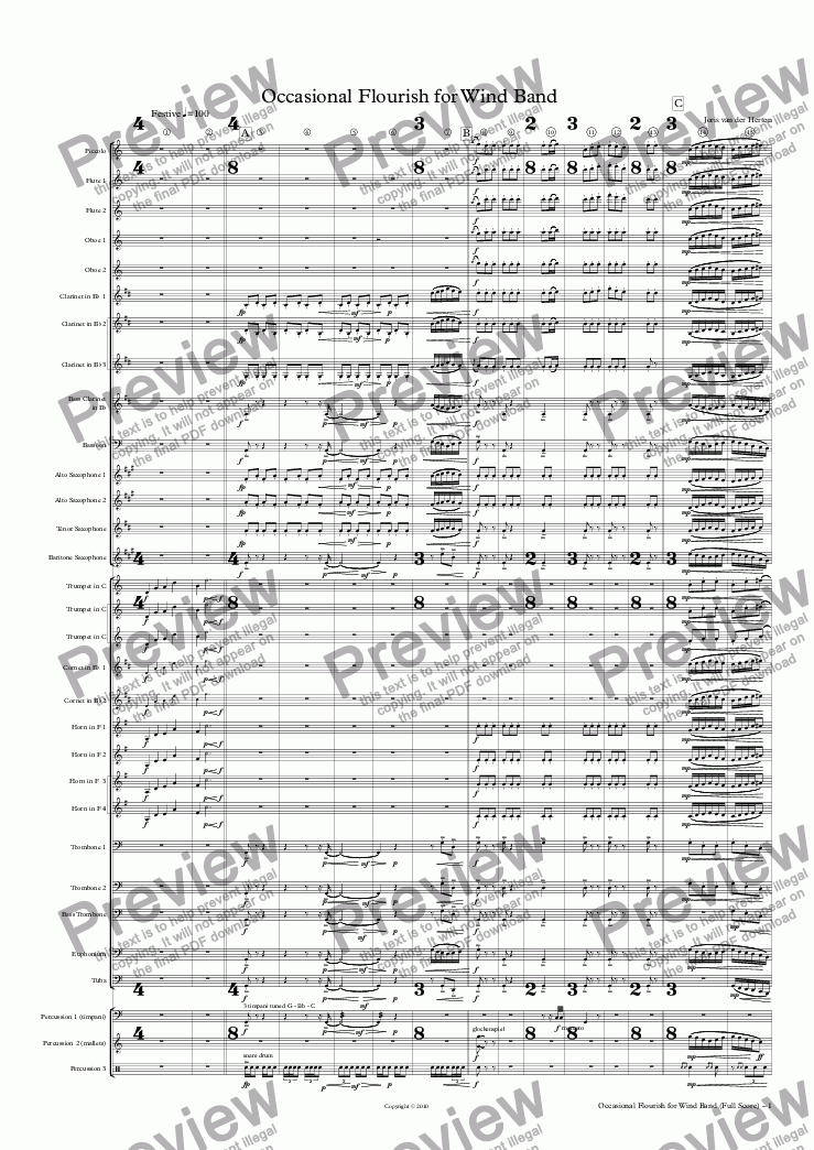 page one of Occasional Flourish (wind band)