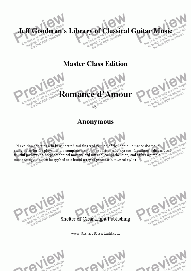 page one of Romance d'Amour - Master Class edition with harmonic reduction