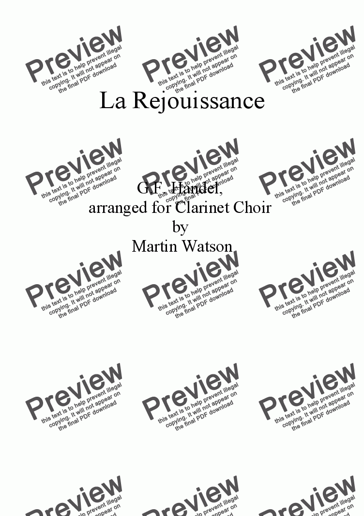 page one of La Rejouissance for Clarinet Choir.
