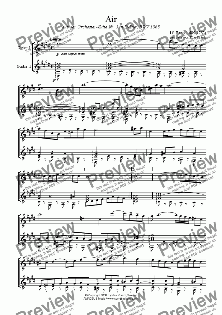 page one of Air on the G string for guitar duet (E major)