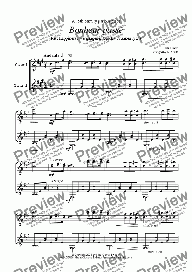 page one of Bonheur passé / Svunnen lycka for guitar duet