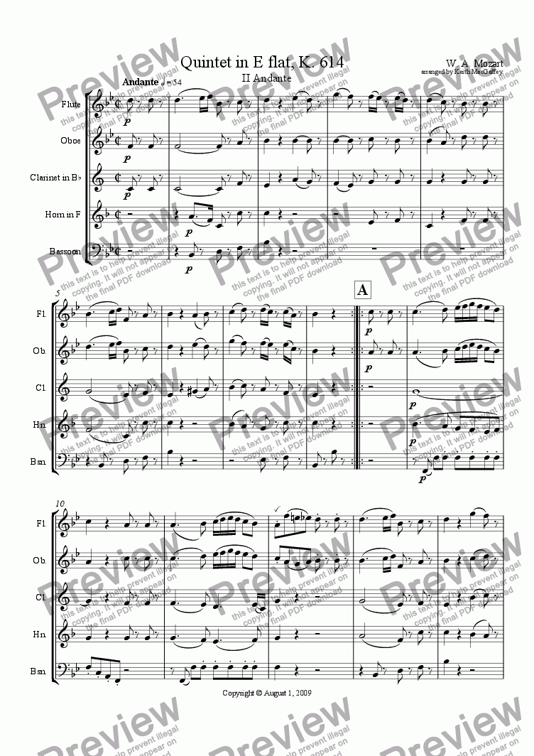 page one of Mozart Quintet in E flat opus 614 II Andante ASALTTEXT