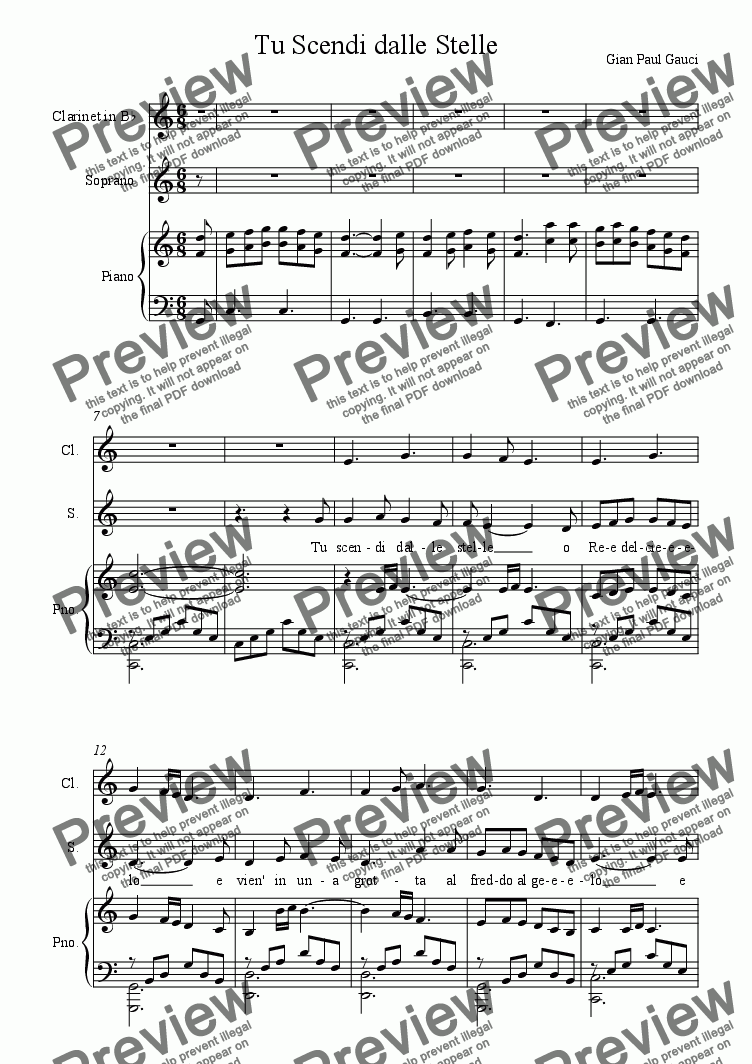 Italian Christmas Music.Tu Scendi Dalle Stelle Italian Christmas Song Vocal And Piano Clarinet Acc For Voice Keyboard By Trad Sheet Music Pdf File To Download