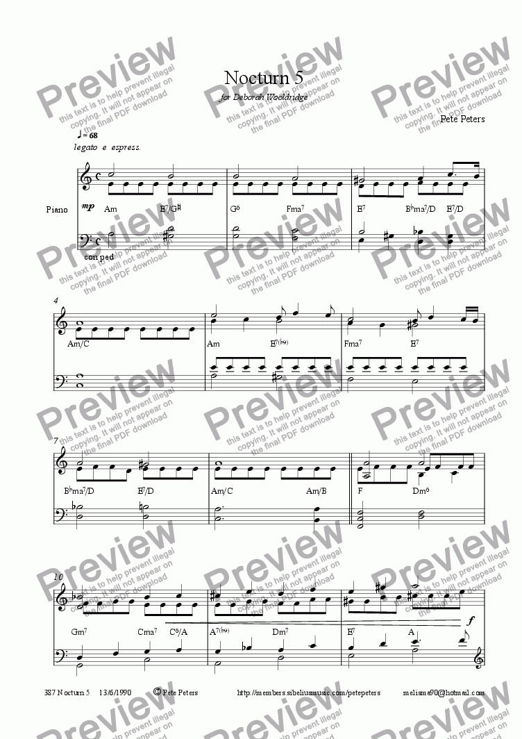 page one of Nocturn 5 [Piano solo]