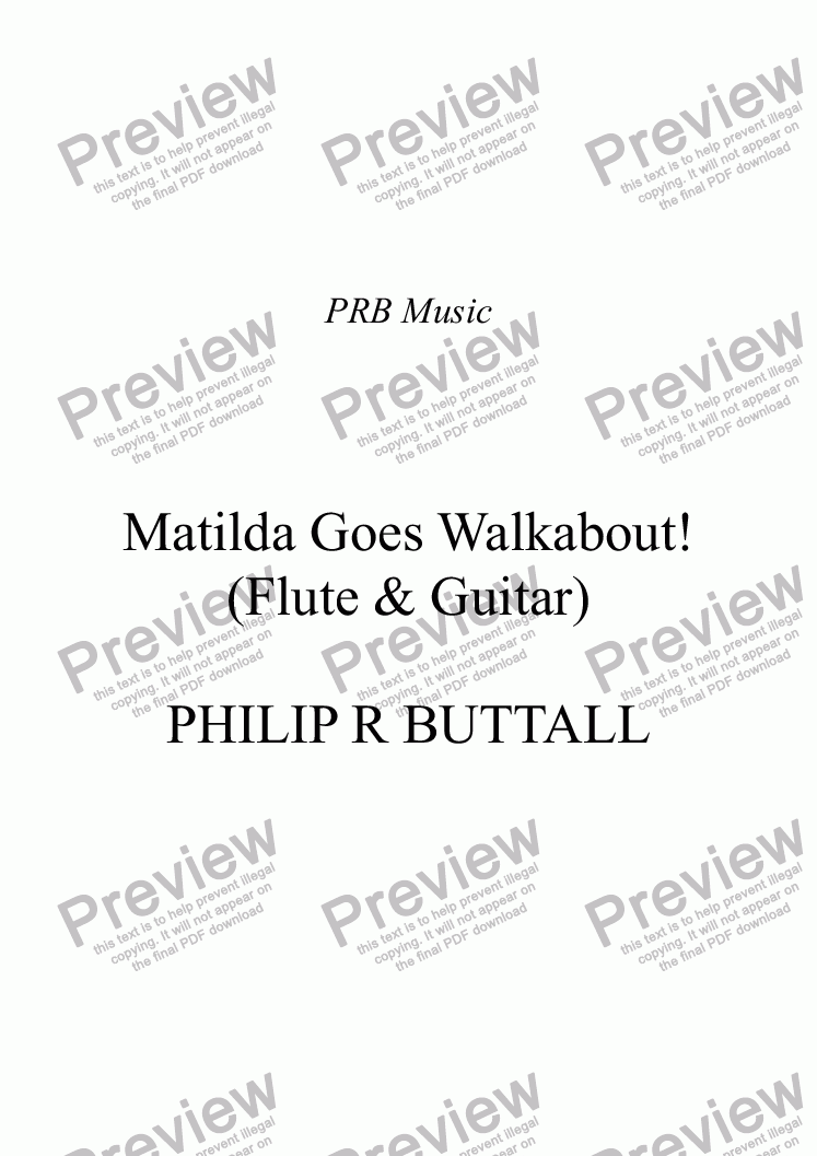 page one of Matilda Goes Walkabout! (Flute & Guitar)