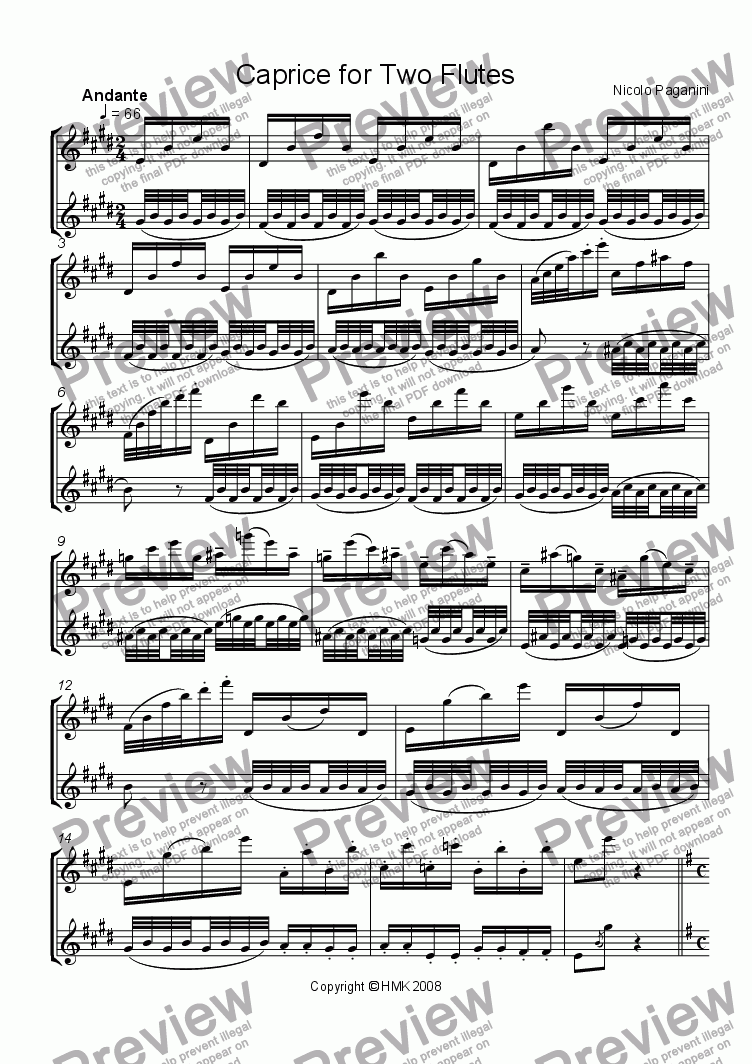 page one of Caprice Paganini for Two Flutes