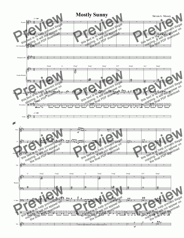 page one of Mosty Sunny  (JAZZ - 8 piece combo)