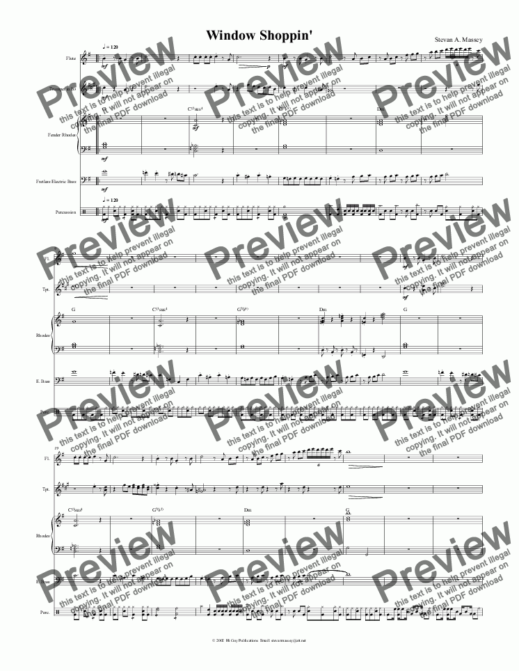 page one of Window Shoppin'  (JAZZ - 5 piece combo)