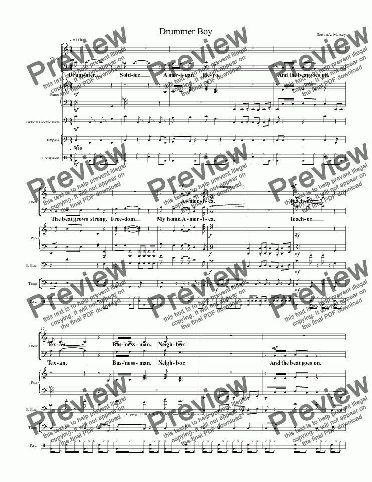page one of Drummer Boy  (PATRIOTIC - SATB & 4 piece combo)